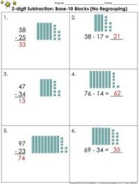 2-digit Subtraction: Use Base-10 Blocks (No Regrouping ...