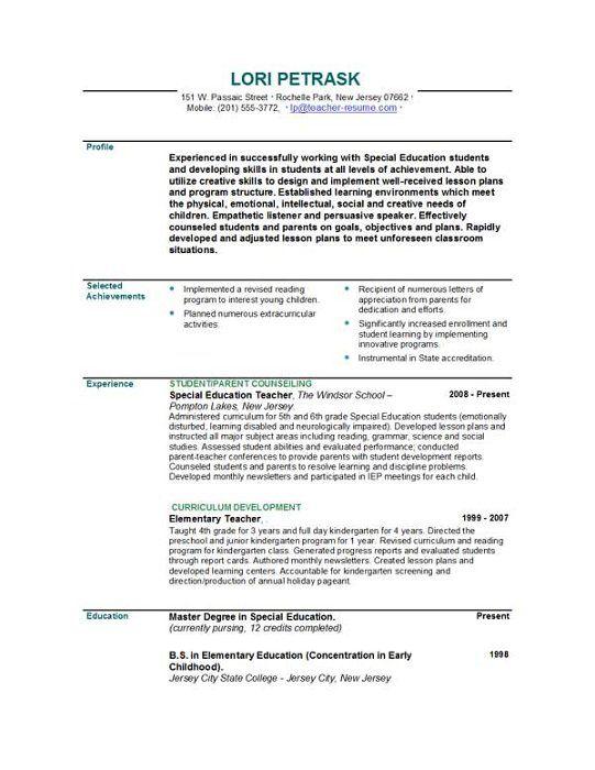 free elementary teacher resume templates