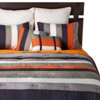 Striped 8 Piece Bedding Set - Navy/Orange   Kids ...