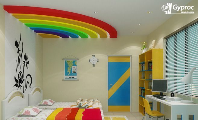 simple false ceiling designs for living room india storage units uk let your kid's wake up to a vibrant rainbow coloured# ...
