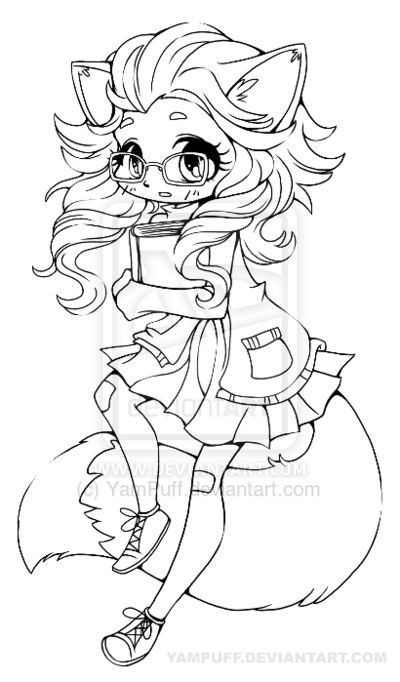 Fox Girl Chibi Lineart by YamPuff.deviantart.com on