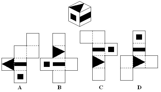 spatial ability question4 Which pattern can be folded to