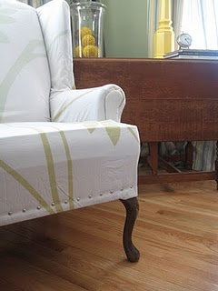 NO SEW wing chair slipcover  Made by hand  Pinterest
