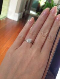 Thin band engagement ring, round brilliant diamond ...
