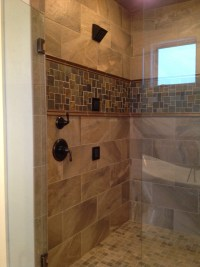Custom tile shower with slate accent | HJM Projects ...