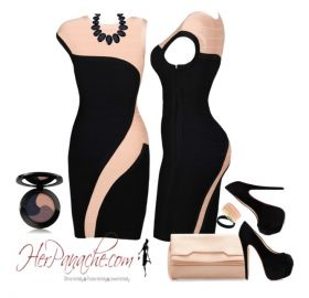 Dresses: Black Champagne Tan Cream One Short Sleeve Shoulder Bodycon Bandage Cel