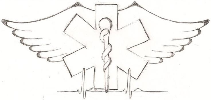 Tattoo design for customer. EMT, angel wings, sinus pulse