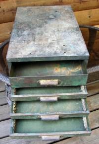 Old Metal Storage 4 Drawer Cabinet Sewing Thread Retail ...