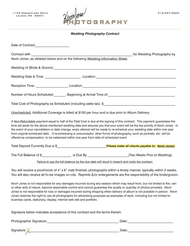 wedding photography contract  Kevin Jones Photography Contract  Pro Stuff  Pinterest  LED A