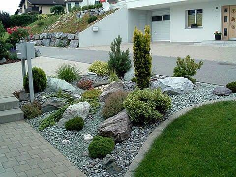 garten ideen steingarten mit granit | sichtschutz, Terrassen deko
