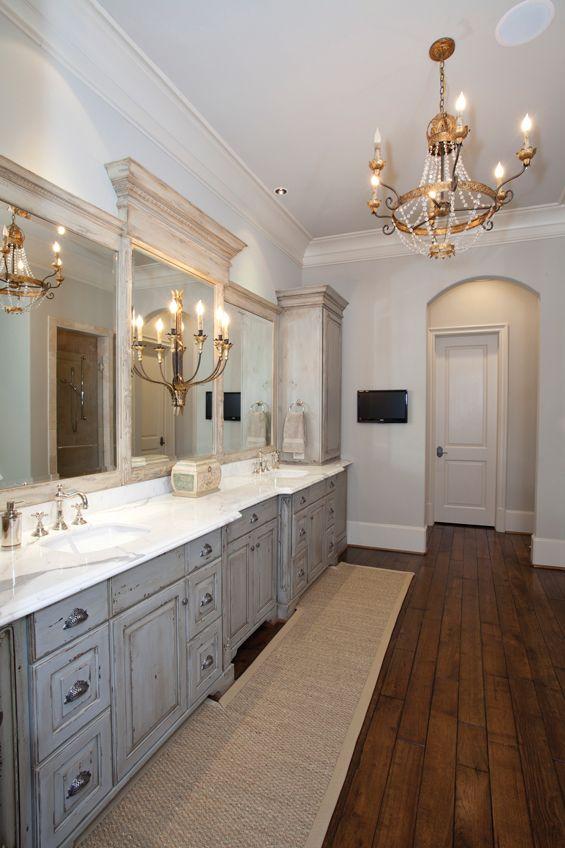Wood floors antique chandelier  gray cabinets beautiful