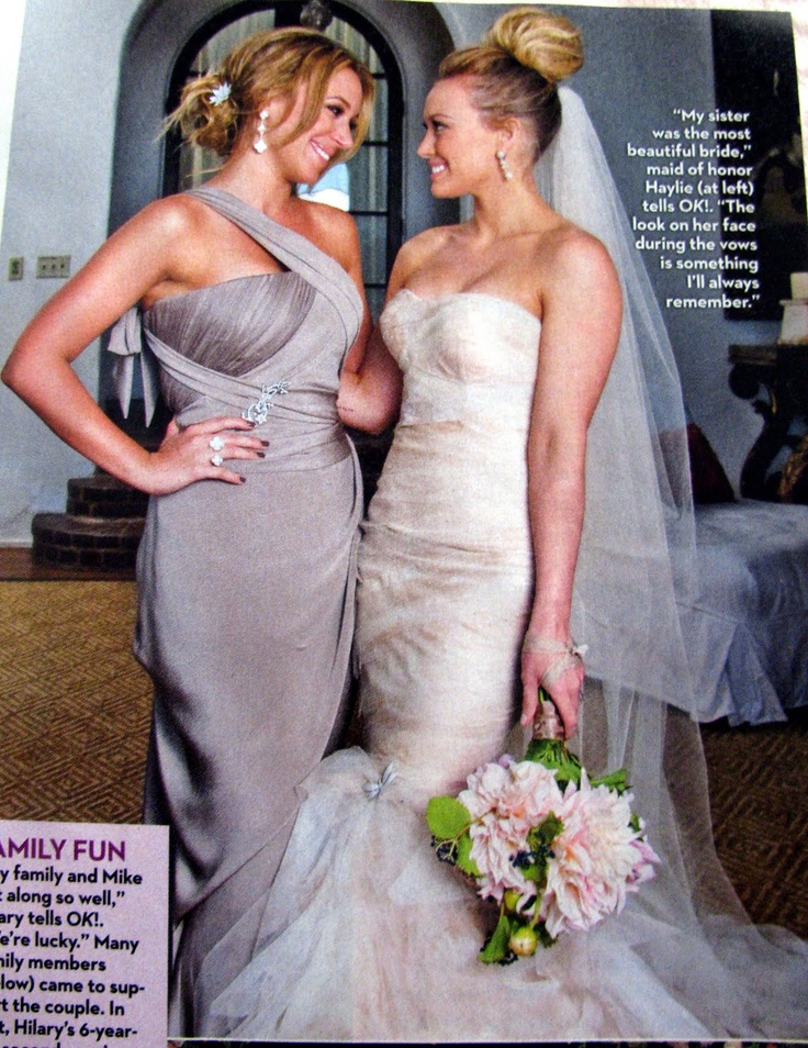 Hilary Duff wedding with her sister Haylie  Wedding  Pinterest  Colors Sister pictures and