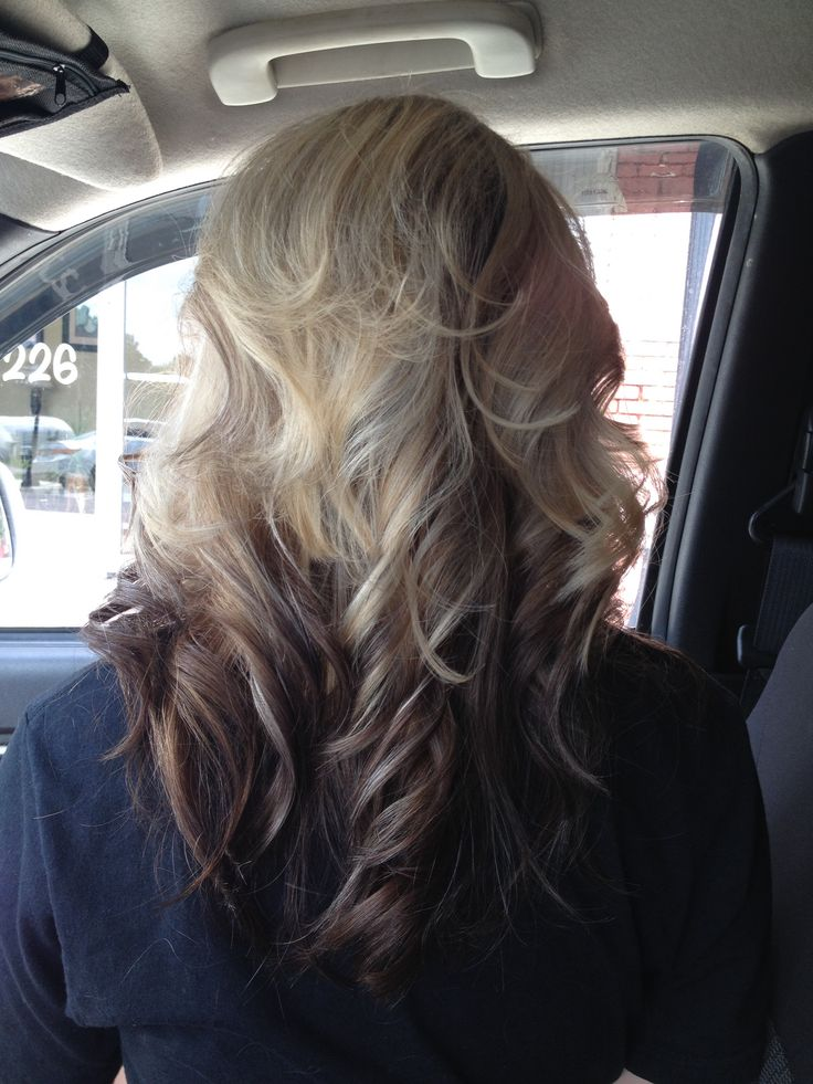 Blonde highlights on top dark brown ombre on bottom of hair with layers and curl  My Style