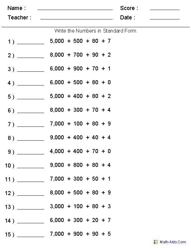 22 best images about Place Value worksheet on Pinterest