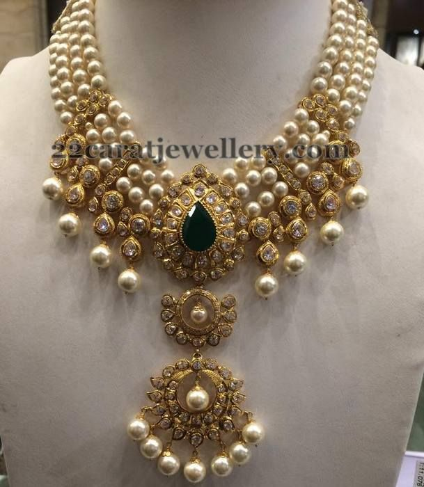 Jewellery Designs Four Layers Heavy Pearl Necklace