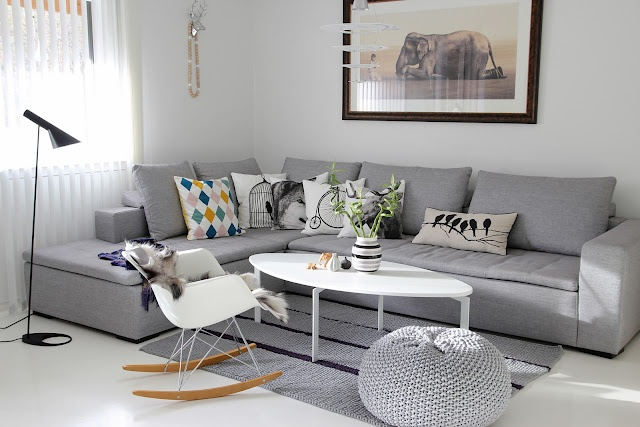living rooms with grey couches room design ideas picture light lounge corner, pillows, white rocking chair ...