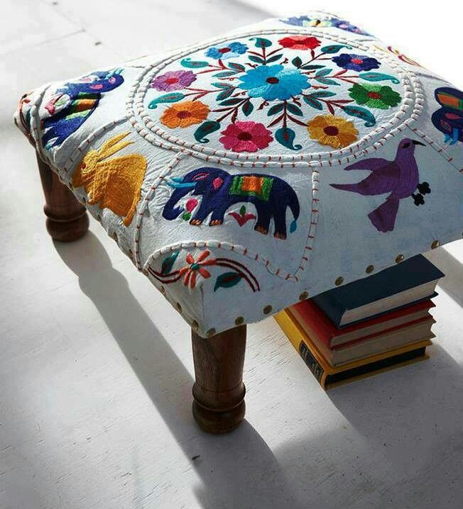 To recover vintage stools- very sweet: