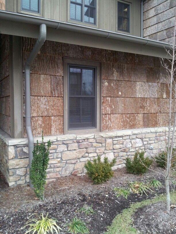 Vertical Siding With Wood Siding And Stone Poplar Bark