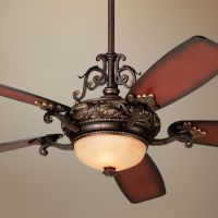Tuscan Gold Finish Ceiling Fan with Italian Amber Scavo ...
