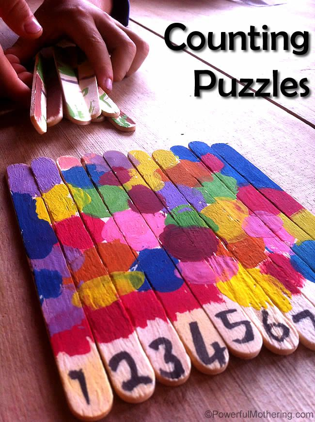 Counting Popsicle Stick Puzzles  Fun Arts and Crafts for