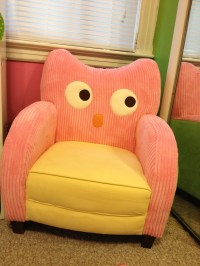 Pink and green owl chair