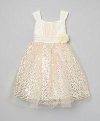 Rosenau Beck Ivory & Gold Sparkle Bow Dress - Girls ...