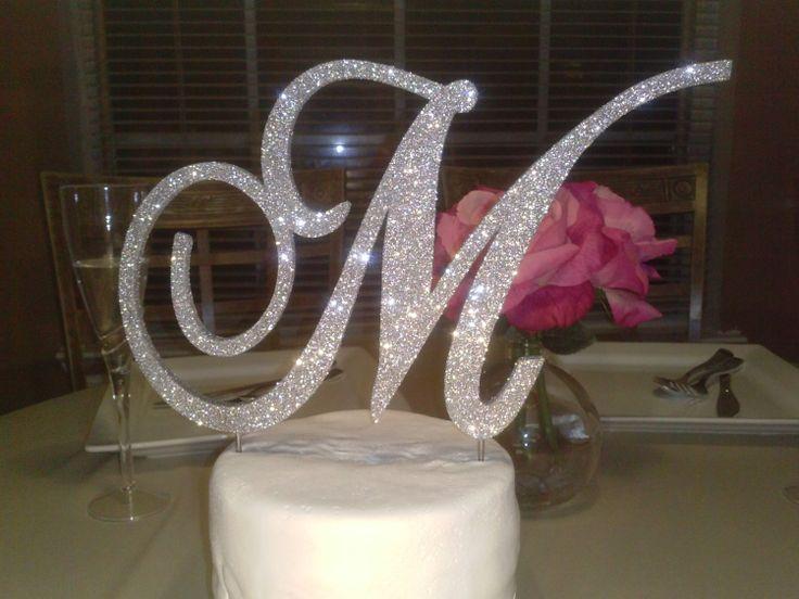 Monogram Cake Topper 6 Inch Silver Glitter By ItsinGlitter