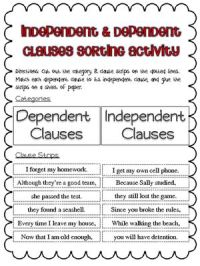 Independent And Subordinate Clauses Worksheet Free ...