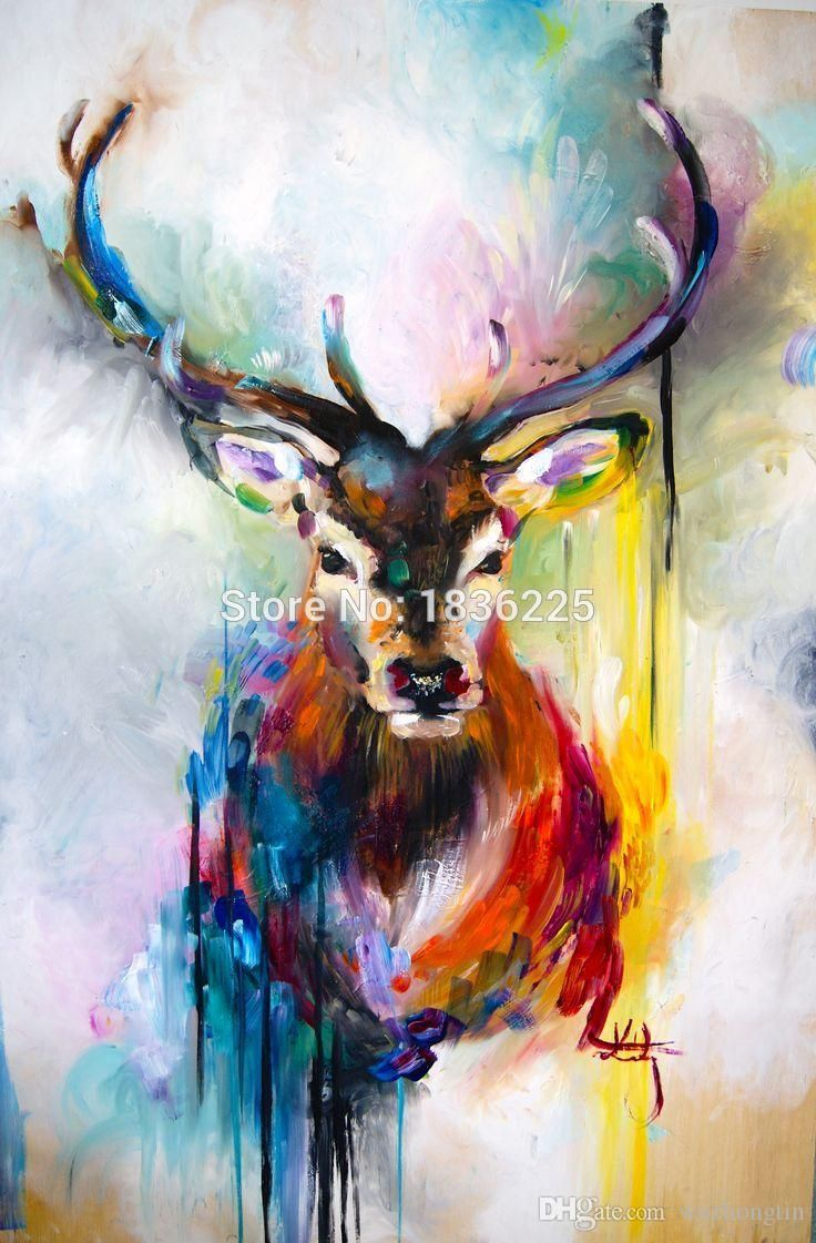 Online Cheap Colorful Bright Color Canvas Wall Art Deer