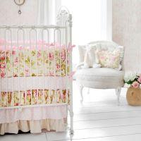 Pink Rose Baby Bedding, Rose Crib Bedding, Vintage Rose