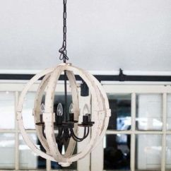 White Wood Kitchen Table Rustic Chandelier Distressed Cream Round Pendant | The Magnolia Market ...