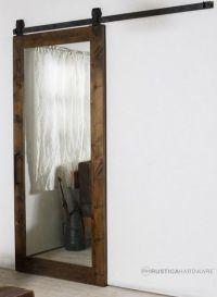 bathroom door - barn door with mirrors on both sides ...