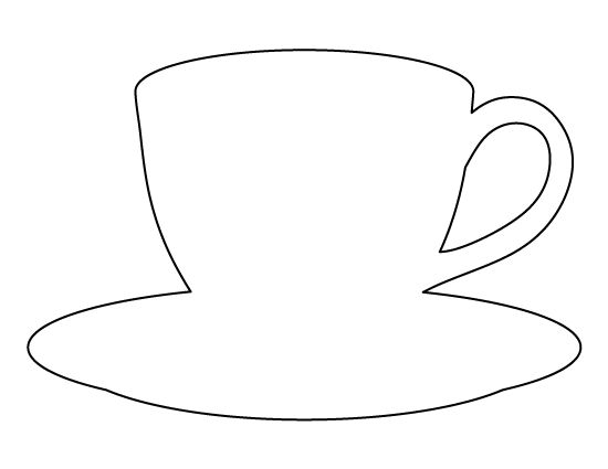Coffee cup pattern. Use the printable outline for crafts