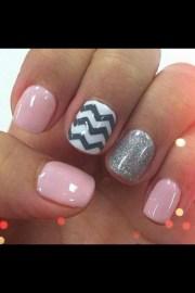 chevron nails - light pink white