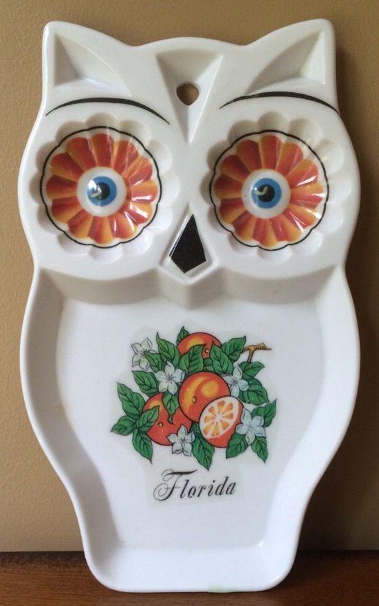 Vintage Florida Owl Wall Plaque Spoon Rest Souvenir