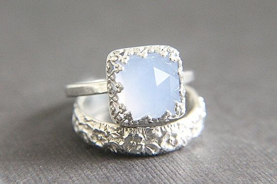 Vintage Style Chalcedony Wedding Ring Set  Eco Friendly Engraved Wedding Band  Engagement Ring