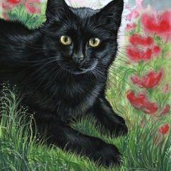 Cow Print Chair Office Disposal Black Cat Poppy Garden Painting Anne Marsh Art   Best Cats Ideas