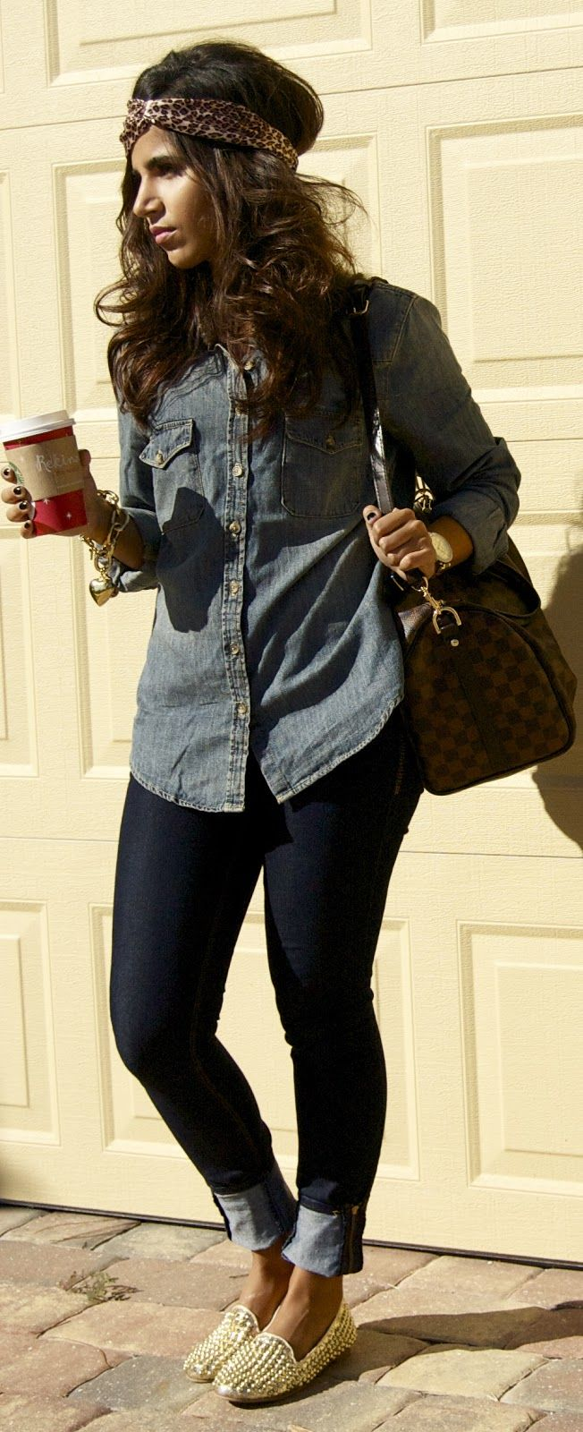 Denim on denim, gold studded flats & LV | The Chicest Ambry: Trendy Trends: