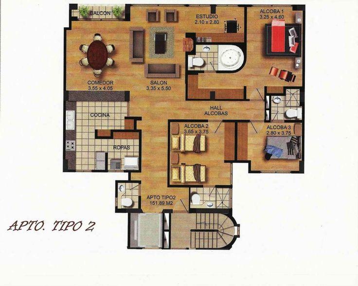 Plano Apartamento 151 m2 construidos 3 habitaciones jacuzzi estudio 4 baos Sala chimeneacomedor balcon cocina abierta y zona de ropas