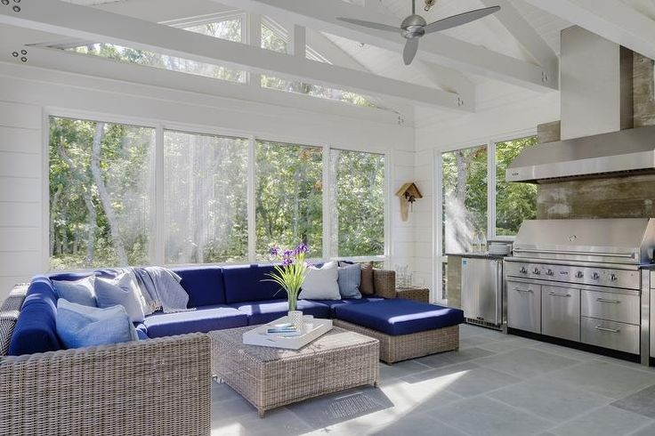 stainless steel kitchen table pinterest remodel ideas beautiful sunroom with a white truss ceiling accented ...