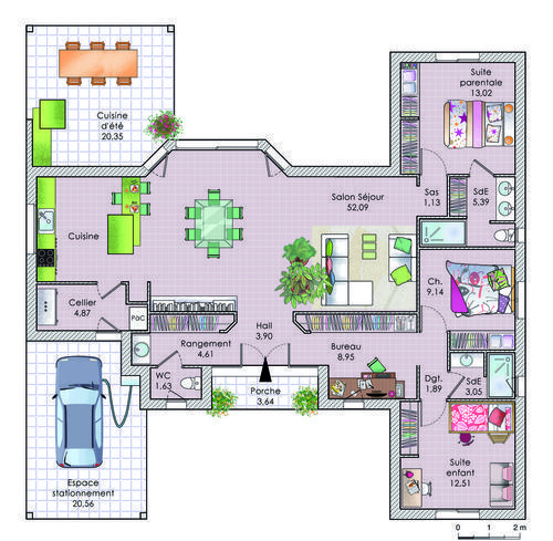 Plan maison 140m2 plain pied plan maison 140m2 r1 plan for Plan maison plain pied suite parentale