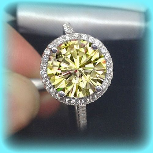 Canary Yellow Moissanite Engagement Ring This Stunning Ring Features A 10mm 4ct Round Canary