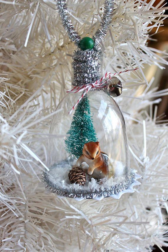 Chipmunk Winter DioramaTerrarium Ornament Ornaments