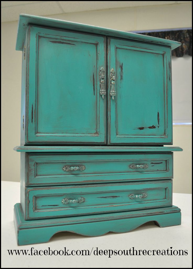 Turquoise Jewelry Box Painted With Miss Lillian S Topsy