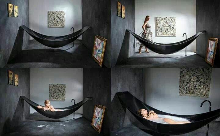 Hammock bath tub  Love it  Pinterest  Bath tubs Hammocks and Tubs