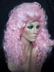 curly pink drag wig
