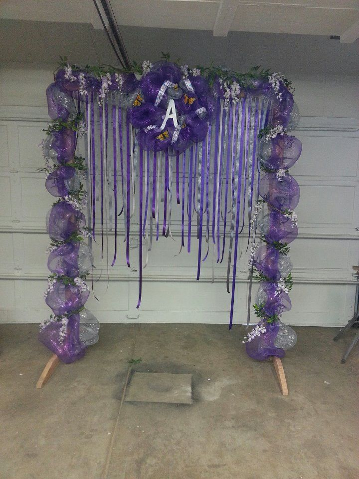 silver arch with purple decorations  Google Search