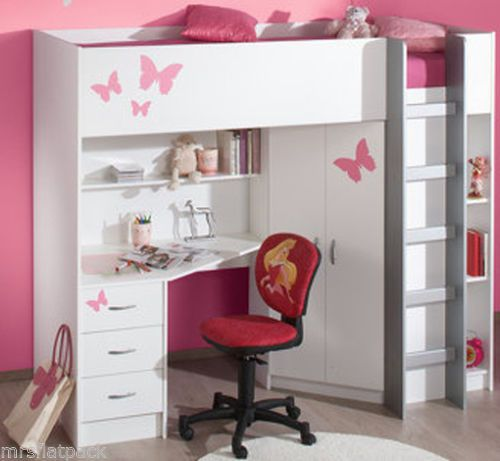CABIN BED  DESK  WARDROBE HIGH SLEEPER WHITE Optional