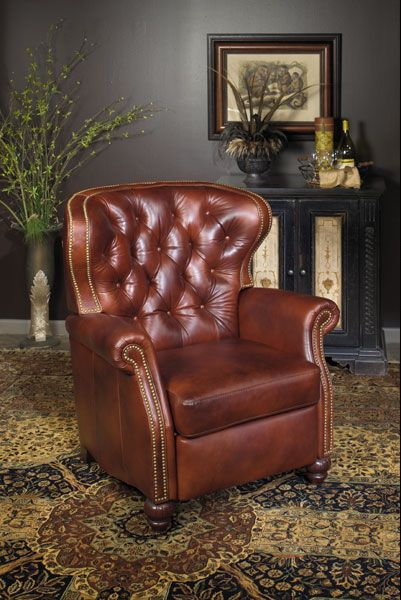 Extra large tufted Leather Recliner from Wellingtons