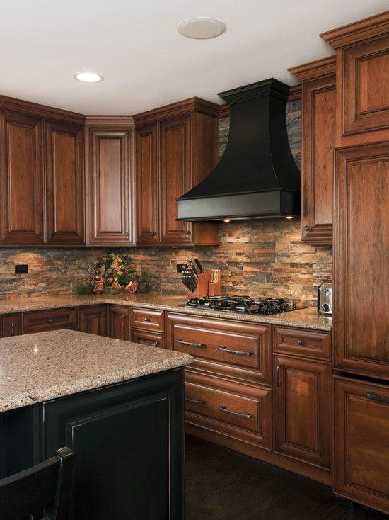 Kitchen Stone Backsplash  House Ideas  Pinterest Stone